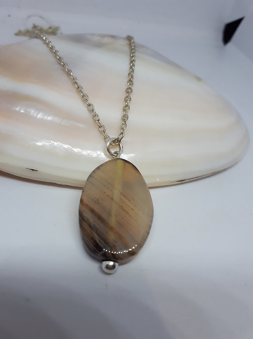 Silver-plated Agate Pendant necklace