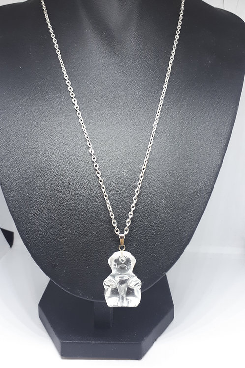 Silver plated clear quartz carved monkey necklace