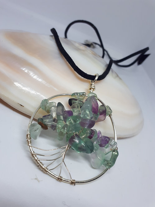 Fluorite tree of life pendant