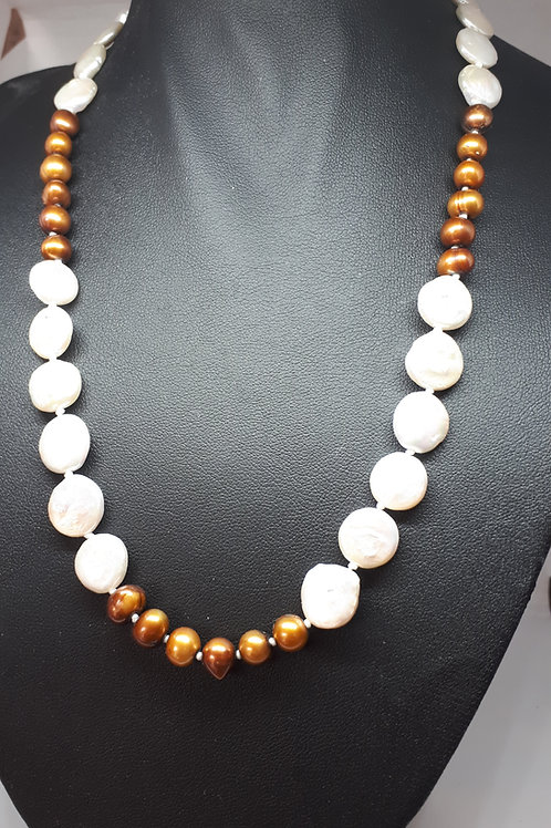 Sterling silver brown pearls and white keshi coin pearls necklace