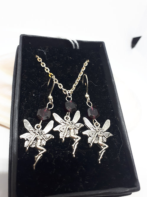 "Silver plated gemstone fairy set - 22"" chain"