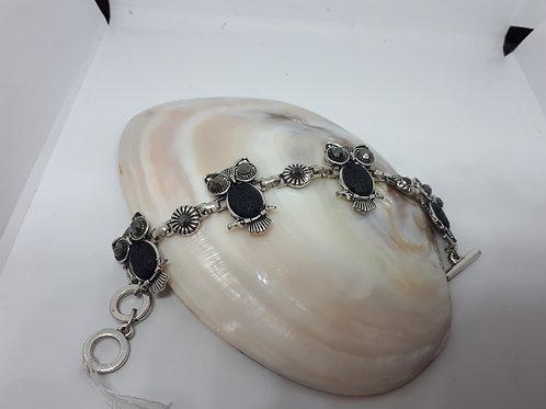 Lava rock silver plated owl bracelet
