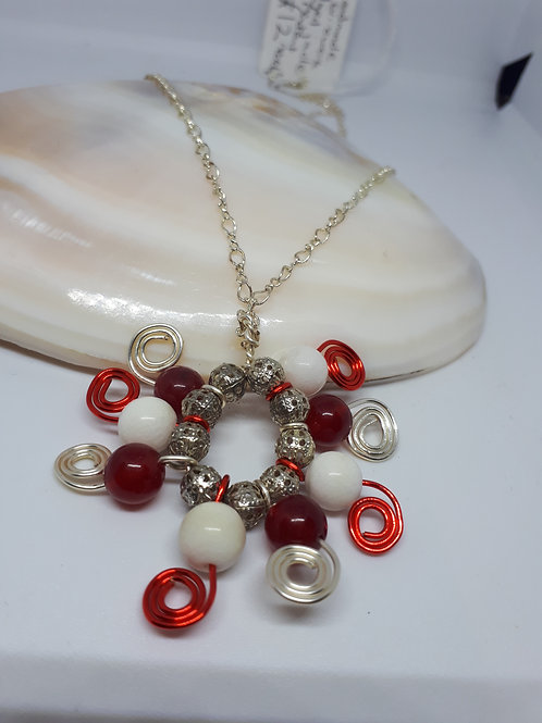 Silver plated red and white dyed jade pendant necklace