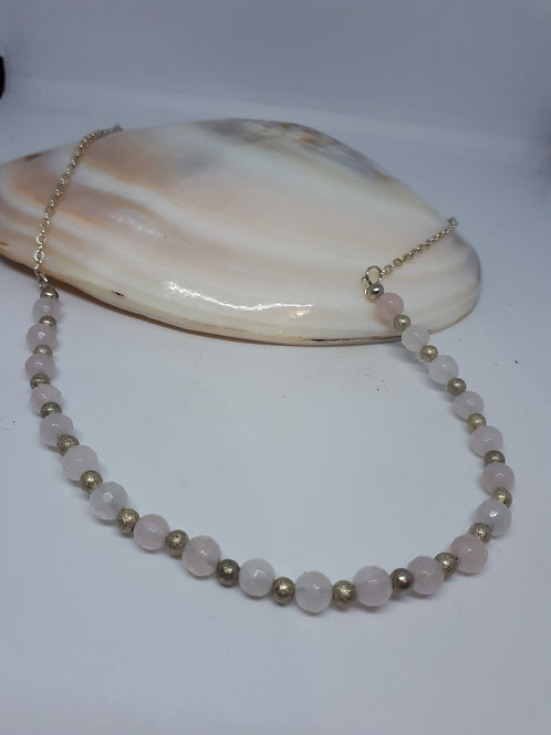 Silver plated faceted rose quartz necklace