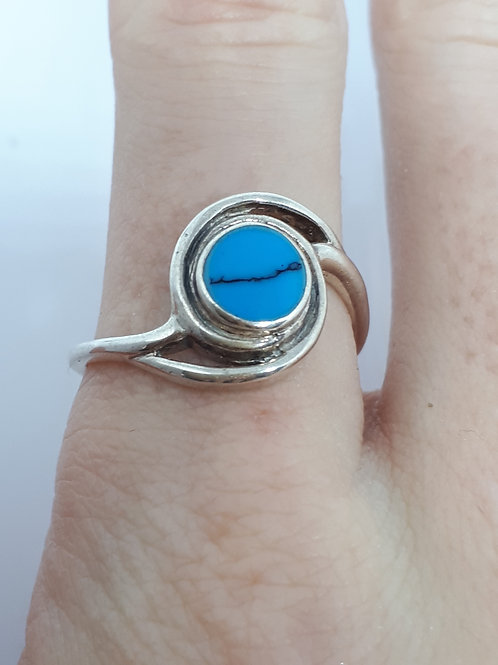 Sterling silver blue howlite ring - UK ring size R