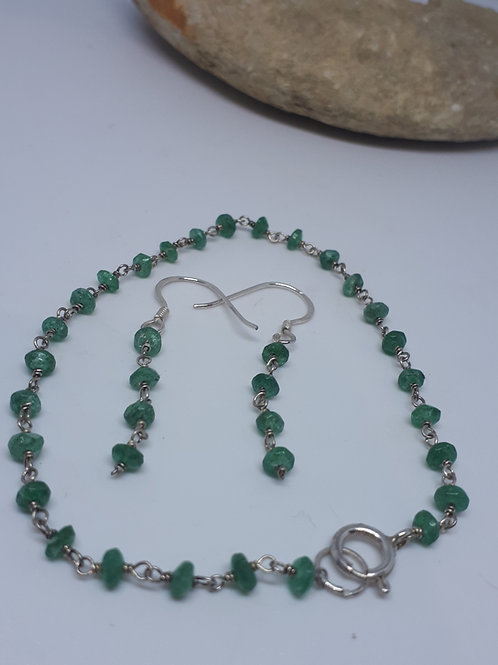 Sterling silver green aventurine bracelet and earring set