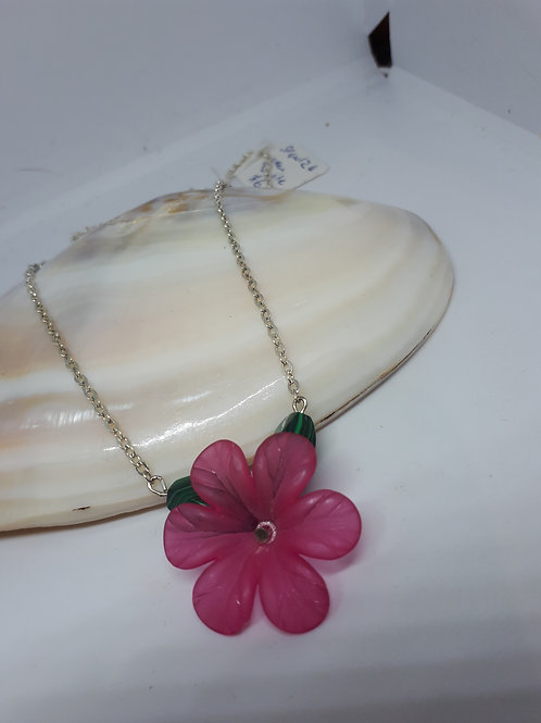 Silver-plated Lucite flower with green dyed Howlite Necklace