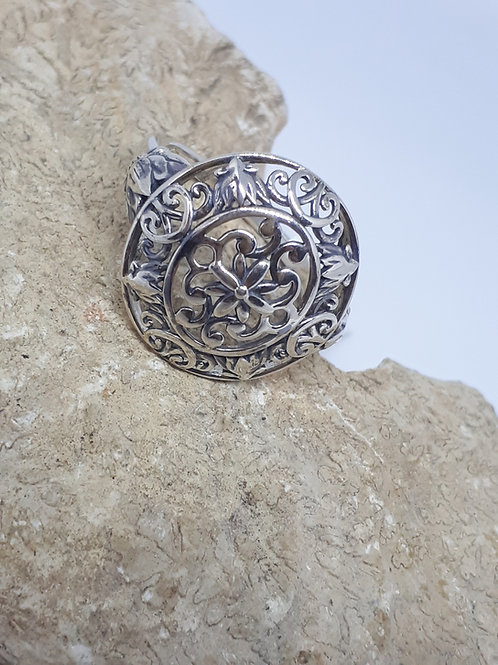 Sterling silver filigree design ring 3.70 grams - UK size O