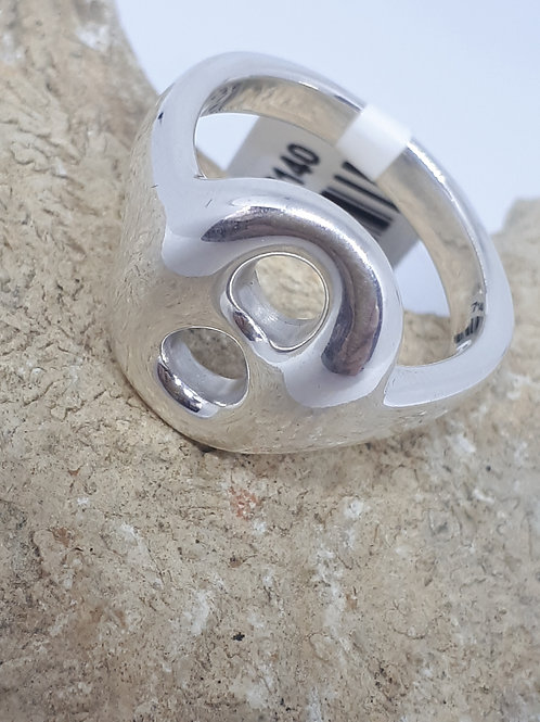Sterling silver high finish plain ring - Uk size P