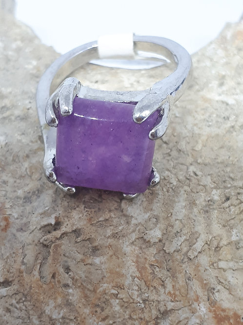 Silver plated amethyst square ring - uk size O