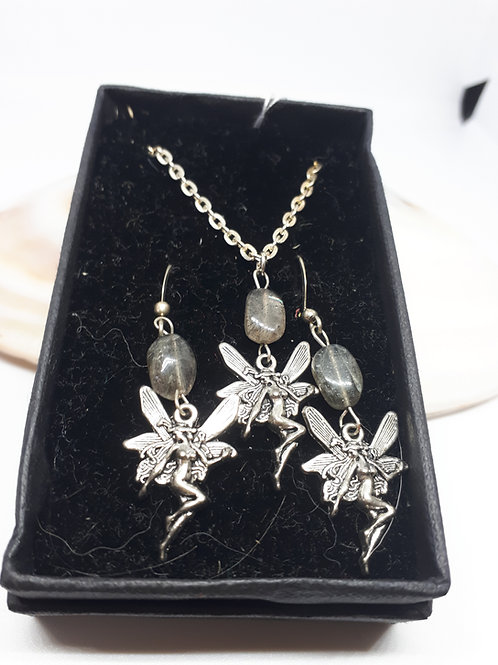 Silver-plated Labradorite fairy necklace and earring set