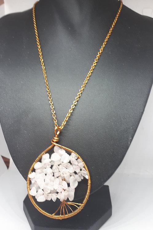 Antique bronze tone rose quartz tree of life necklace