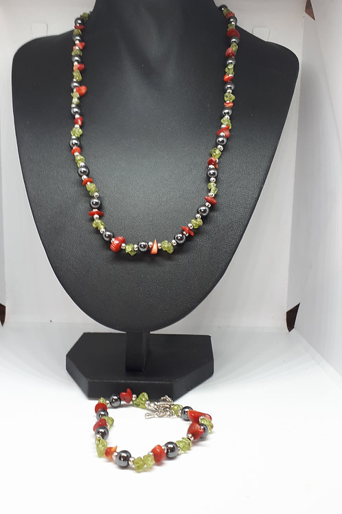 Silver plated haematite, peridot and coral set