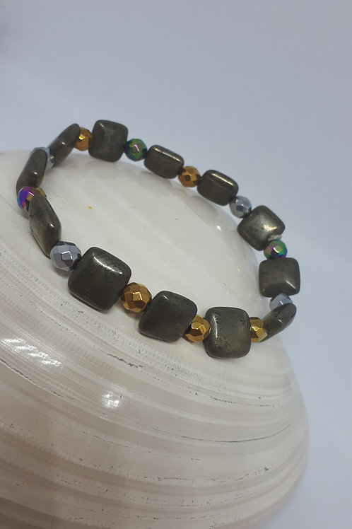 Pyrite and coated Haematite stretchy bracelet