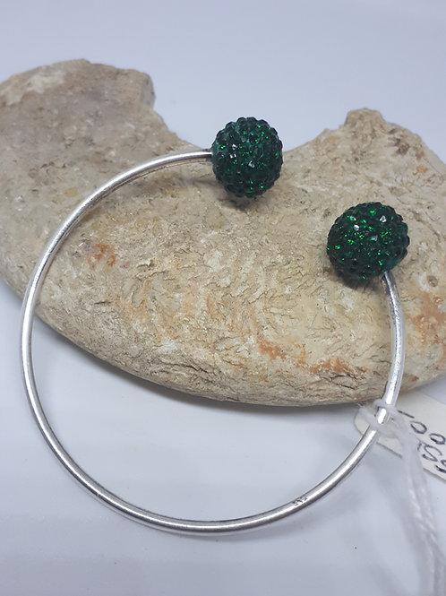 Sterling silver green shamballa bracelet