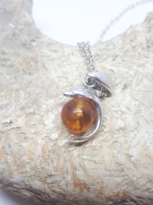 Sterling silver dolphin amber necklace