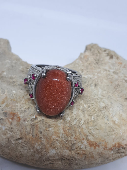 Silver plated goldstone and red crystal ring - UK ring size L
