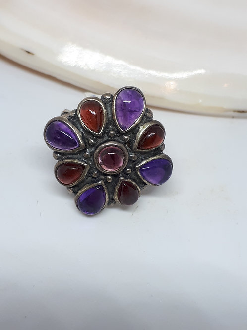 Sterling silver amethyst and garnet ring - UK size K