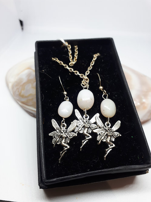Silver-plated pink opal fairy necklace and earring set