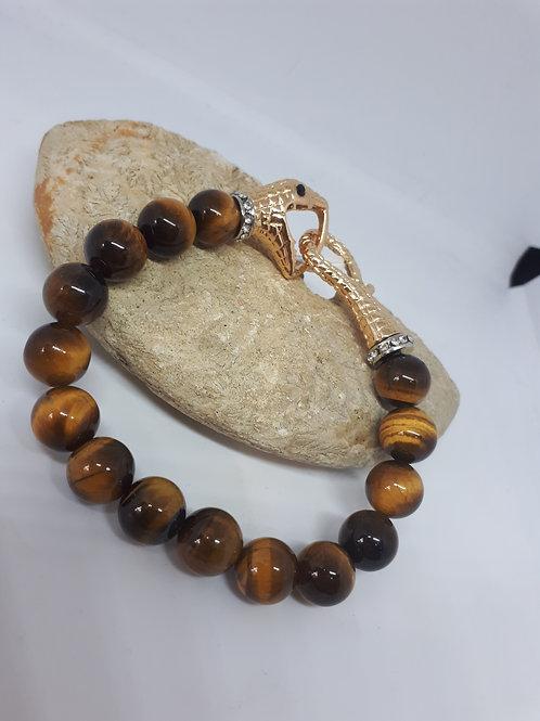 Tigers eye black and white austrian crystal stretchy snake bracelet