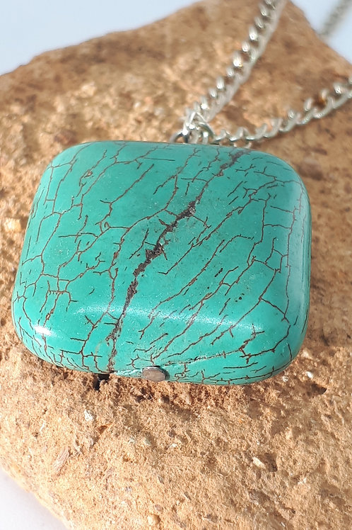 Silver-plated Turquoise Pendant necklace