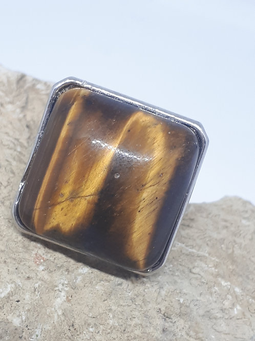 Silver plated Tigers eye adjustable ring