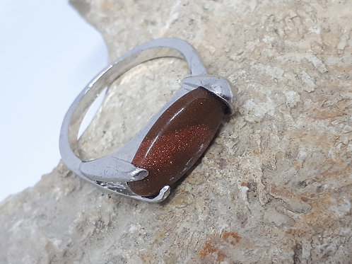Silver plated goldstone ring - Uk size R