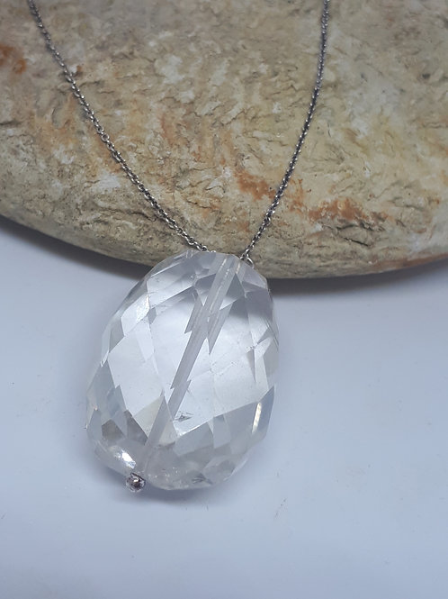 Sterling silver faceted quartz necklace
