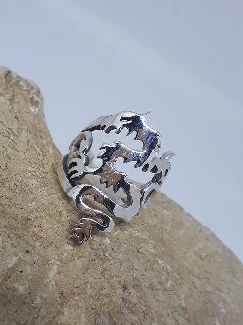 Sterling silver dragon ring - UK size K