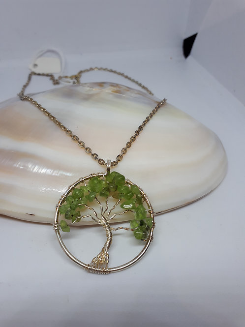 Silver plated peridot tree of life pendant necklace