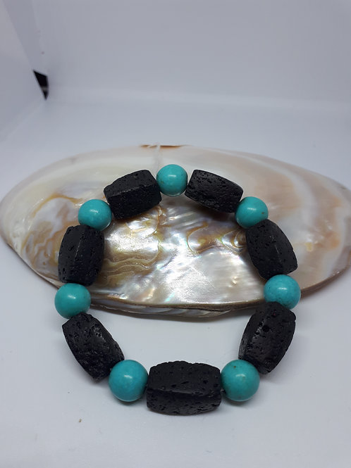 Lava rock and blue dyed howlite stretchy bracelet