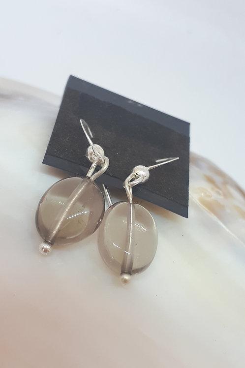 Silver plated smokey quartz earrings