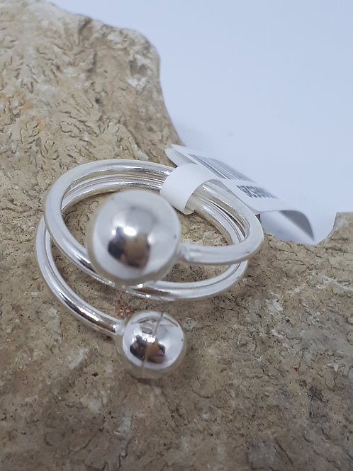 Sterling silver spiral bead ring - size J