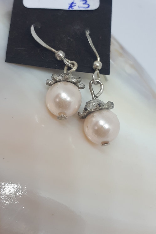 Silver plated pink shell pearl earrings