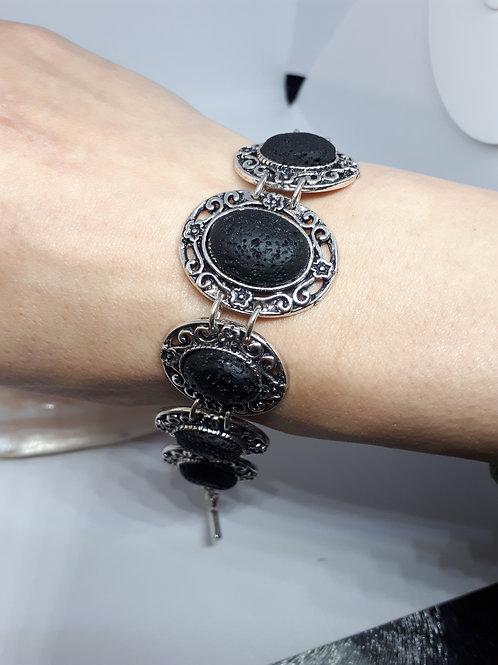 Silver plated lava rock bracelet