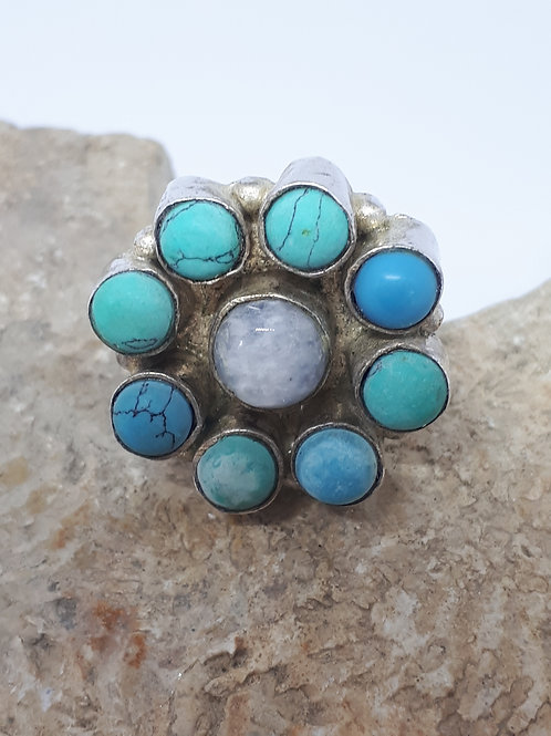 Silver plated moonstone and blue howlite ring - size  Q