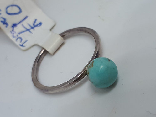 Sterling silver turquoise ring - UK size L