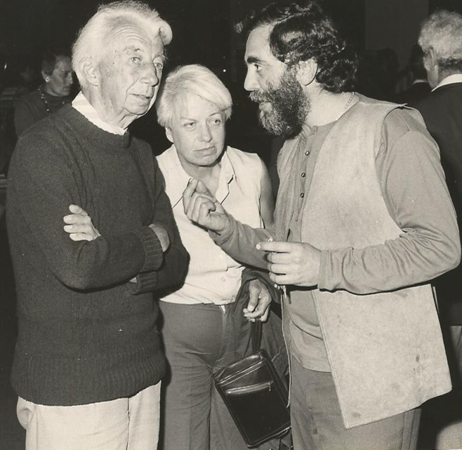 ויליאם סנדברג ואיזיקה בפתיחת  האגף לעיצוב ואדריכלות 1973