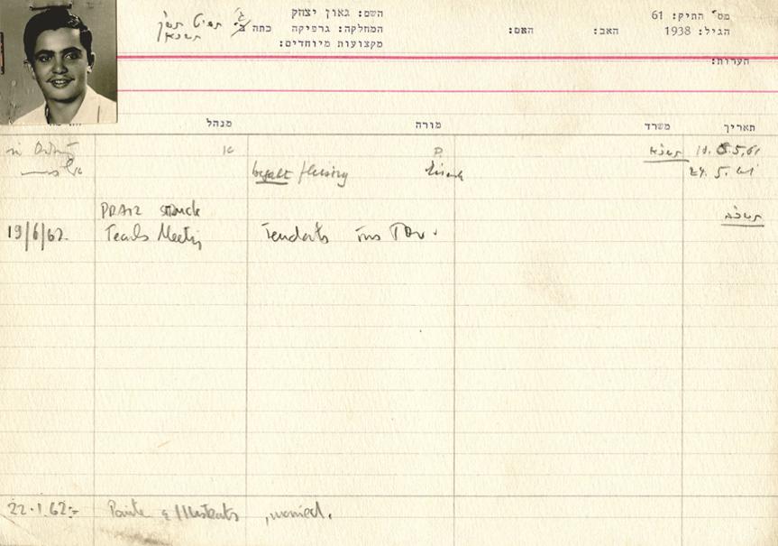 1961, כרטיס תלמיד , שנה ג', בצלאל