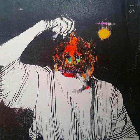 """פורטרט האמן עם דג לוקוס"""" כתוב על גב צילום הזירוקס. איזיקה 1991"""""""