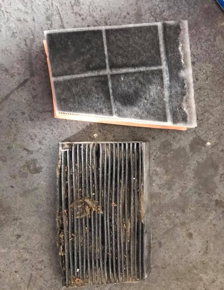 Peľový filter po zanedbaní pravidelnej výmeny