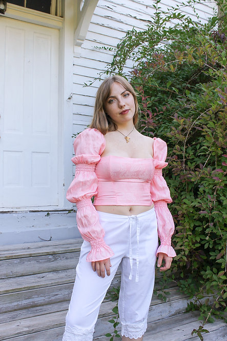 The Brocade Puff Bodice in Pink