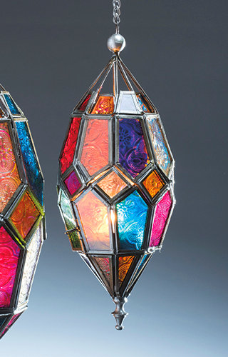 Hanging Multicoloured Glass Lantern