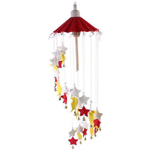 Stars and moon hanging paper mobile