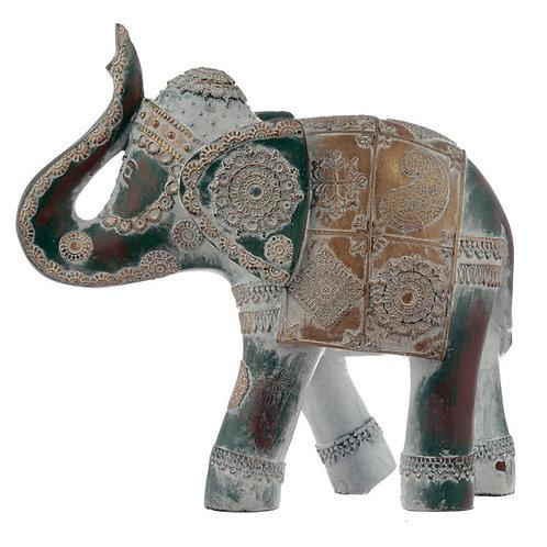 Thai Brushed Gold and White Verdigris Elephant - Large