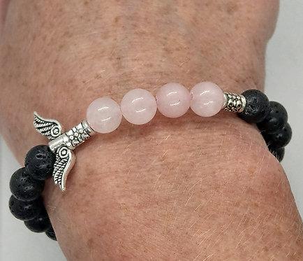 Lava Bead Bracelet with Rose Quartz