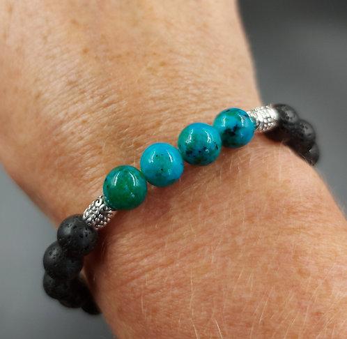 Lava Bead Bracelet with Chrysocolla