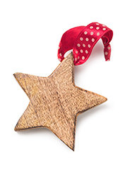 Wooden Hanging Star Decoration With Ribbon