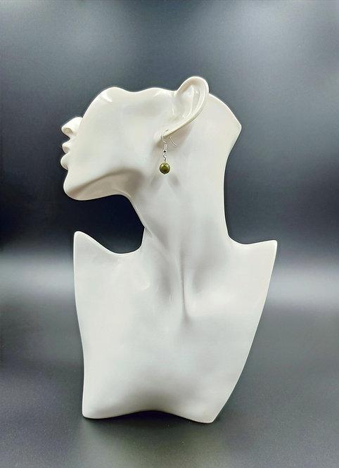 Silver Plated Unakite Earrings