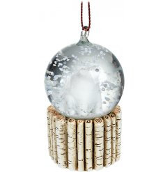 Polar Bear Snow Globe Hanging Decoration